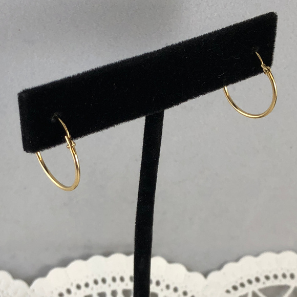Vintage Other - Small 14 Karat solid yellow Gold Huggie Hoops